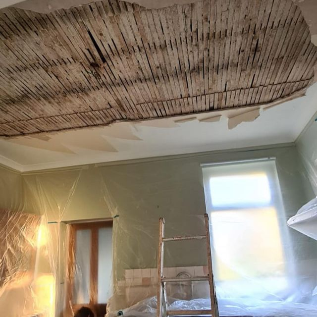 ceiling with collapsed plaster