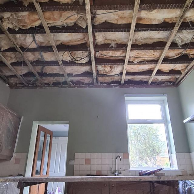 damaged ceiling removed